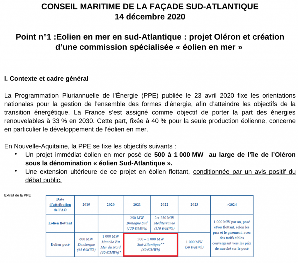 Extrait Conseil Maritime de Façade Sud-Atlantique 14/12/2020